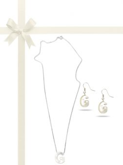 "PACIFIC PEARLS OYSTER BAY COLLECTION Letter ""G"" Mother-of-Pearl Pendant & Earring Gift Set"