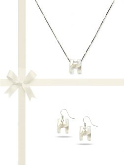 "PACIFIC PEARLS OYSTER BAY COLLECTION Letter ""H"" Mother-of-Pearl Pendant & Earring Gift Set"