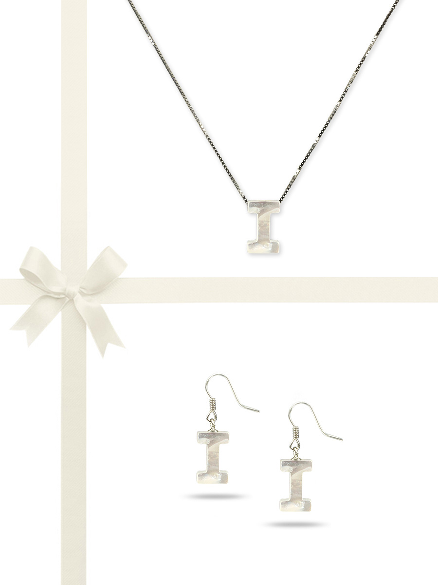 "PACIFIC PEARLS OYSTER BAY COLLECTION Letter ""I"" Mother-of-Pearl Pendant & Earring Gift Set"