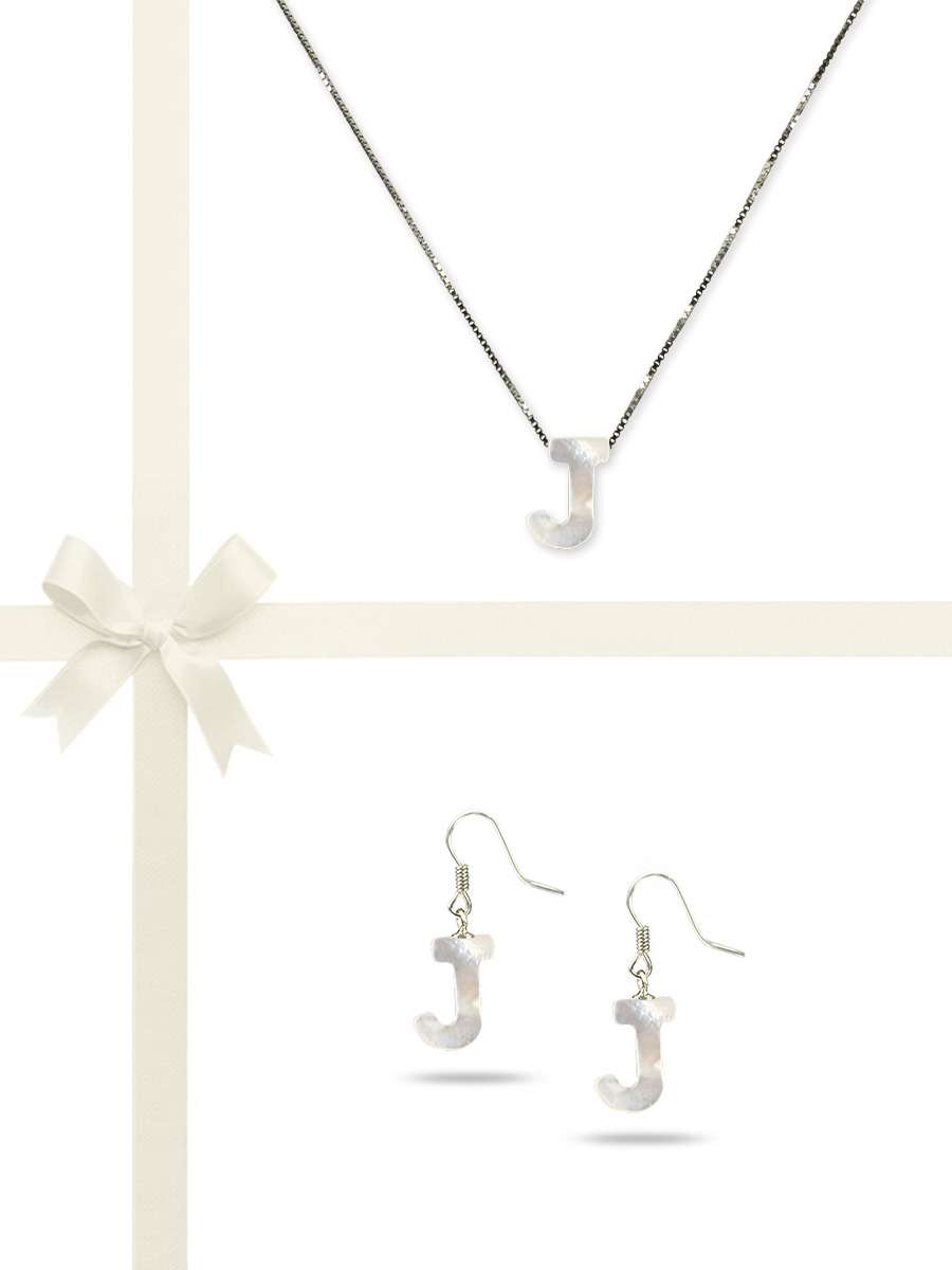 "PACIFIC PEARLS OYSTER BAY COLLECTION Letter ""J"" Mother-of-Pearl Pendant & Earring Gift Set"