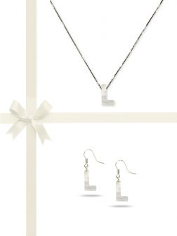 "PACIFIC PEARLS OYSTER BAY COLLECTION Letter ""L"" Mother-of-Pearl Pendant & Earring Gift Set"