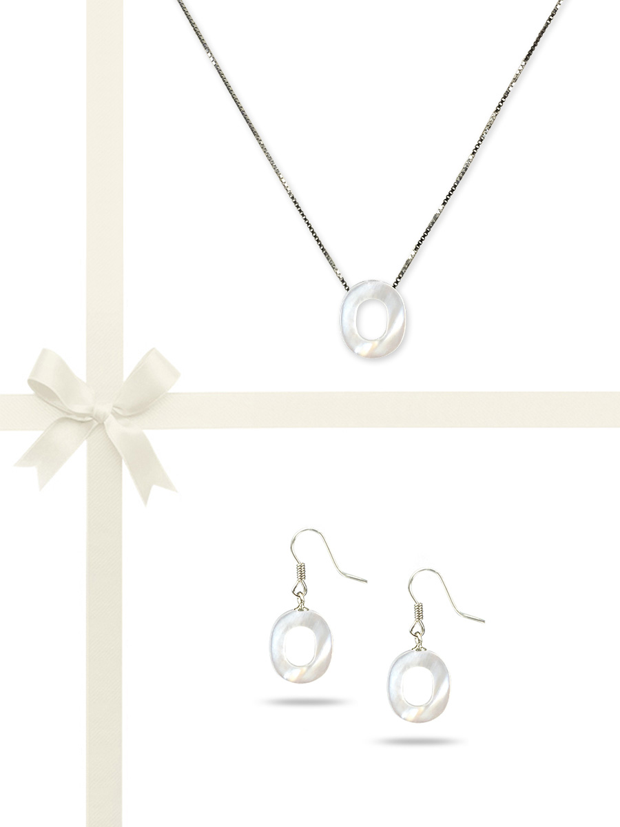 "PACIFIC PEARLS OYSTER BAY COLLECTION Letter ""O"" Mother-of-Pearl Pendant & Earring Gift Set"