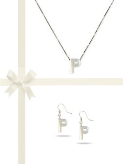 "PACIFIC PEARLS OYSTER BAY COLLECTION Letter ""P"" Mother-of-Pearl Pendant & Earring Gift Set"