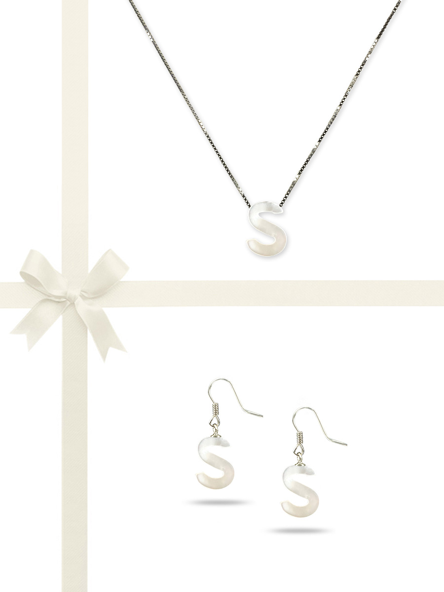 "PACIFIC PEARLS OYSTER BAY COLLECTION Letter ""S"" Mother-of-Pearl Pendant & Earring Gift Set"