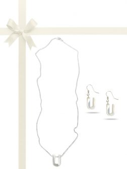 "PACIFIC PEARLS OYSTER BAY COLLECTION Letter ""U"" Mother-of-Pearl Pendant & Earring Gift Set"