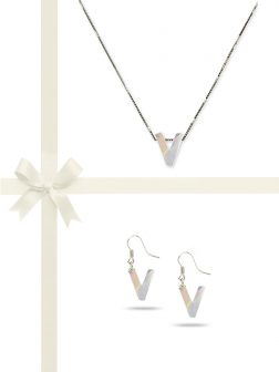 "PACIFIC PEARLS OYSTER BAY COLLECTION Letter ""V"" Mother-of-Pearl Pendant & Earring Gift Set"