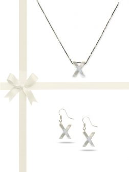 "PACIFIC PEARLS OYSTER BAY COLLECTION Letter ""X"" Mother-of-Pearl Pendant & Earring Gift Set"
