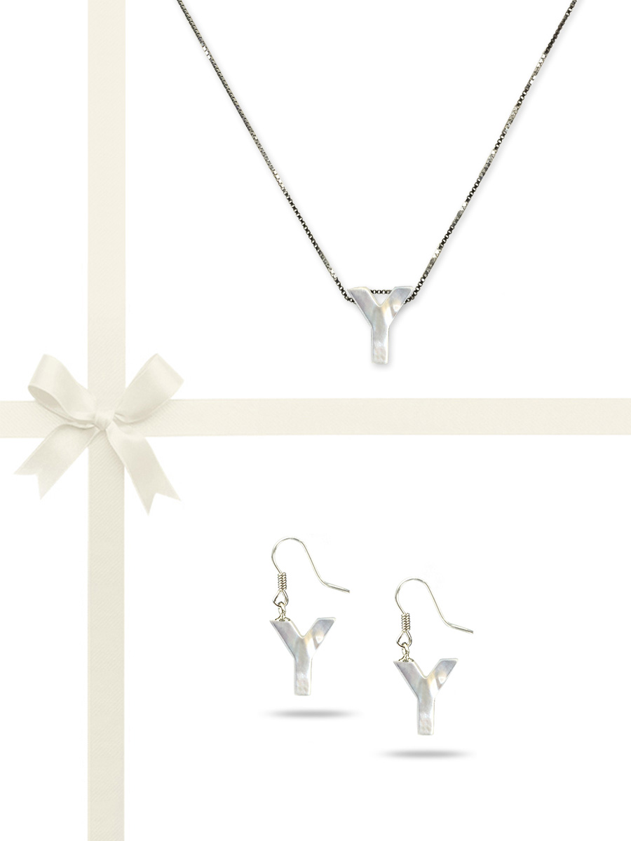 "PACIFIC PEARLS OYSTER BAY COLLECTION Letter ""Y"" Mother-of-Pearl Pendant & Earring Gift Set"