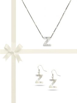 "PACIFIC PEARLS OYSTER BAY COLLECTION Letter ""Z"" Mother-of-Pearl Pendant & Earring Gift Set"