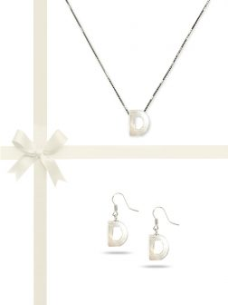 "PACIFIC PEARLS OYSTER BAY COLLECTION Letter ""D"" Mother-of-Pearl Pendant & Earring Gift Set"