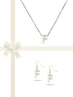 "PACIFIC PEARLS OYSTER BAY COLLECTION Letter ""F"" Mother-of-Pearl Pendant & Earring Gift Set"