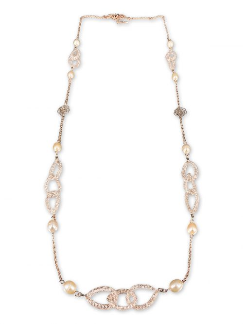 PACIFIC PEARLS ROSE ATOLL COLLECTION 14K Rose Gold Filled Pearl & Swarovski Necklace