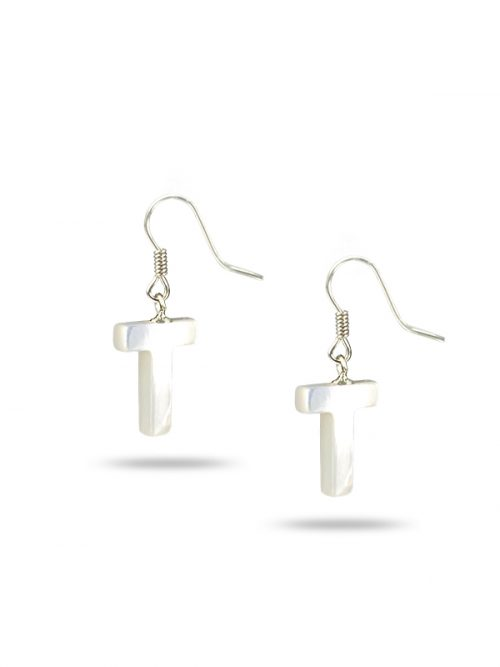 "PACIFIC PEARLS MAUNA LOA COLLECTION Letter ""T"" Mother-of-Pearl Earrings"