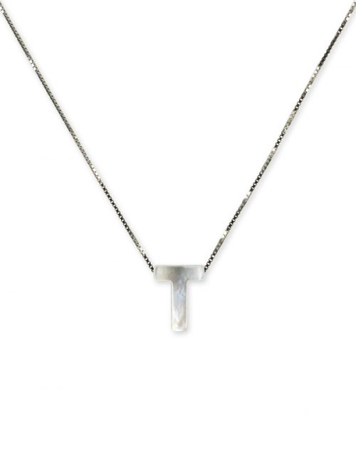 "PACIFIC PEARLS MAUNA LOA COLLECTION Letter ""T"" Mother-of-Pearl Pendant"
