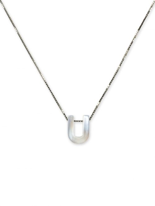 "PACIFIC PEARLS MAUNA LOA COLLECTION Letter ""U"" Mother-of-Pearl Pendant"