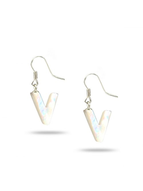 "PACIFIC PEARLS MAUNA LOA COLLECTION Letter ""V"" Mother-of-Pearl Earrings"