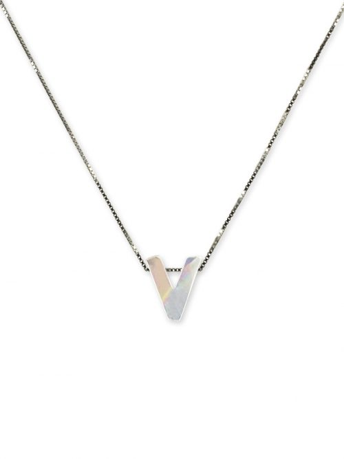 "PACIFIC PEARLS MAUNA LOA COLLECTION Letter ""V"" Mother-of-Pearl Pendant"