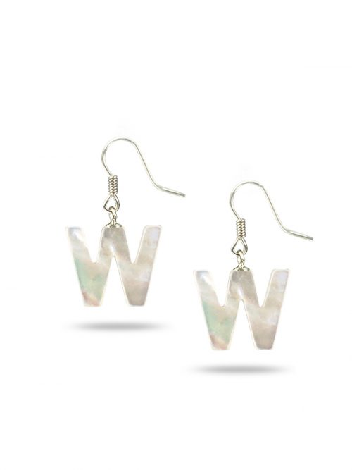 "PACIFIC PEARLS MAUNA LOA COLLECTION Letter ""W"" Mother-of-Pearl Earrings"