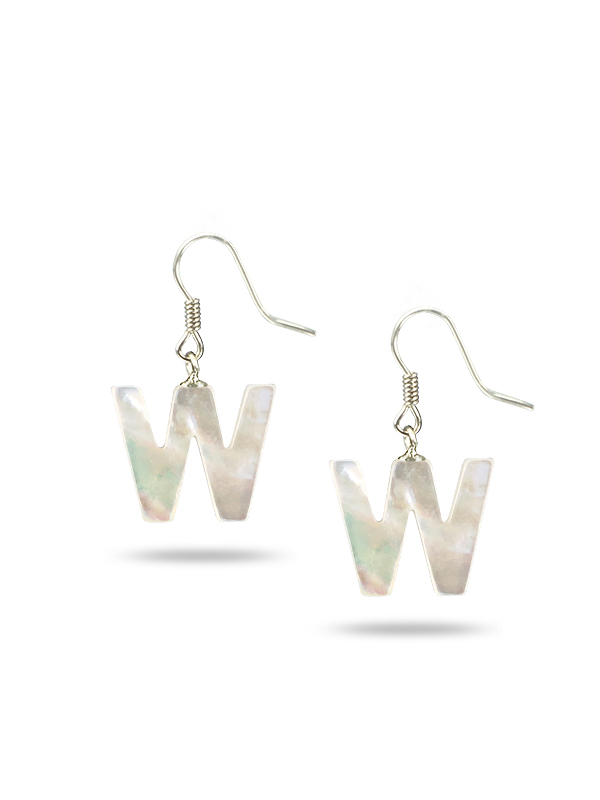 """PACIFIC PEARLS MAUNA LOA COLLECTION Letter """"W"""" Mother-of-Pearl Earrings"""