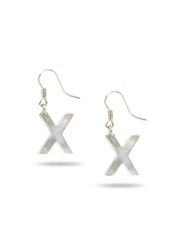 """PACIFIC PEARLS MAUNA LOA COLLECTION Letter """"Z"""" Mother-of-Pearl Earrings"""