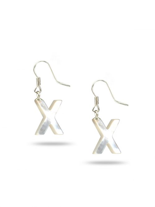 "PACIFIC PEARLS MAUNA LOA COLLECTION Letter ""X"" Mother-of-Pearl Earrings"
