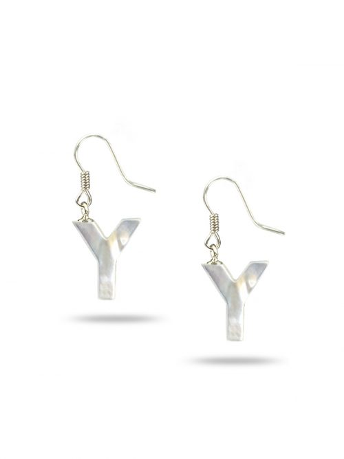 "PACIFIC PEARLS MAUNA LOA COLLECTION Letter ""Y"" Mother-of-Pearl Earrings"