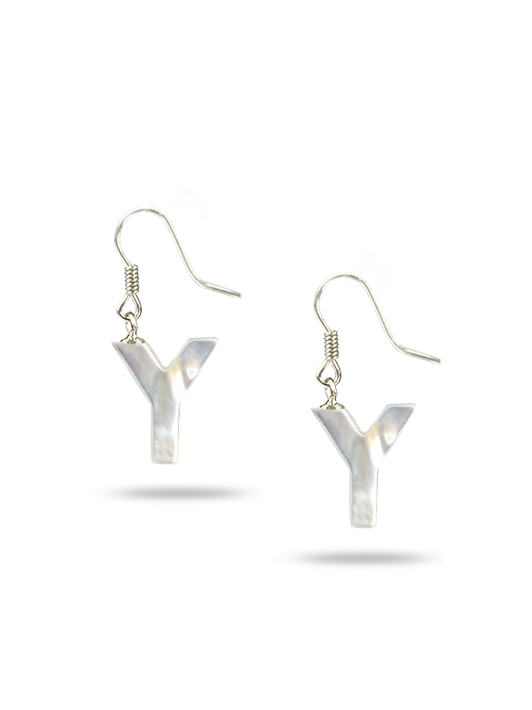 """PACIFIC PEARLS MAUNA LOA COLLECTION Letter """"Y"""" Mother-of-Pearl Earrings"""