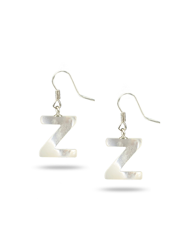 "PACIFIC PEARLS MAUNA LOA COLLECTION Letter ""Z"" Mother-of-Pearl Earrings"
