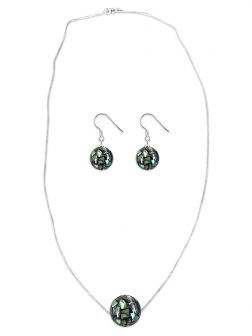 PACIFIC PEARLS NEW ZEALAND ABALONE COLLECTION 12mm Abalone Pendant & Earring Set