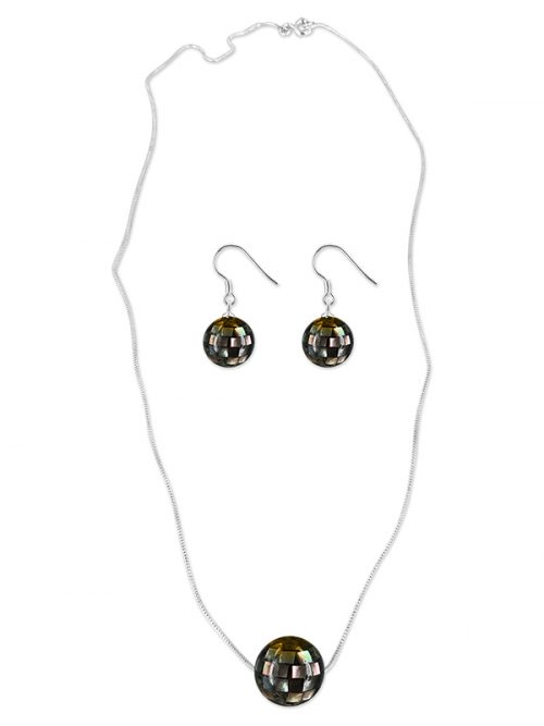 PACIFIC PEARLS SOUTH SEA COLLECTION 12mm Black South Sea Mother-of-Pearl Pendant & Earring Set