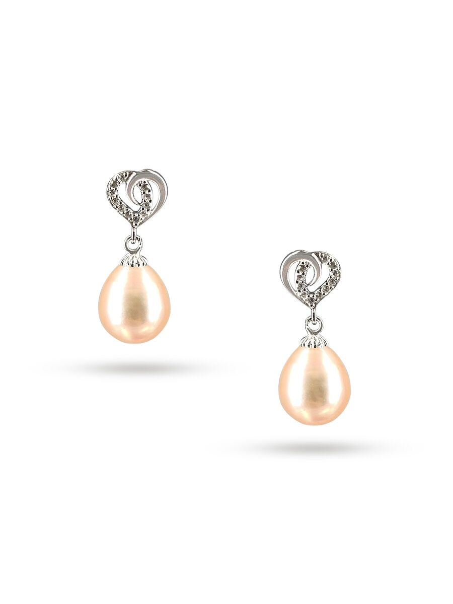PACIFIC PEARLS ALOHA COLLECTION Juliet Diamond Encrusted Peach Pearl Earrings