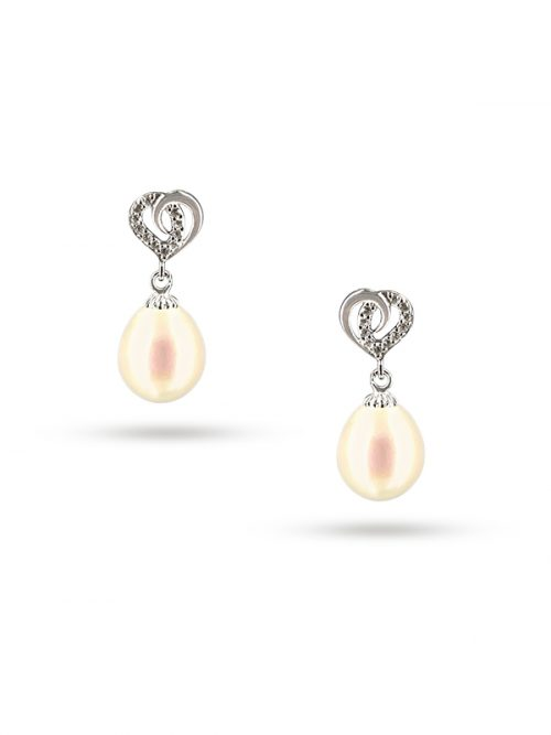 PACIFIC PEARLS ALOHA COLLECTION Juliet Diamond Encrusted White Pearl Earrings