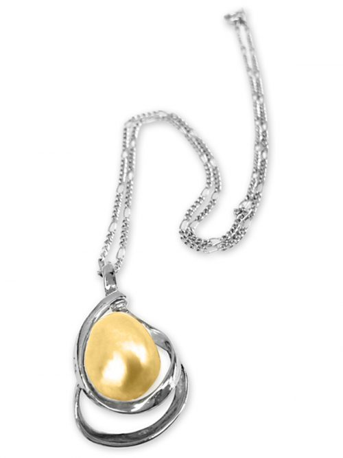 PACIFIC PEARLS KIRIBATI-COLLECTION-Gold-15-18mm-Baroque-Pearl-Pendant