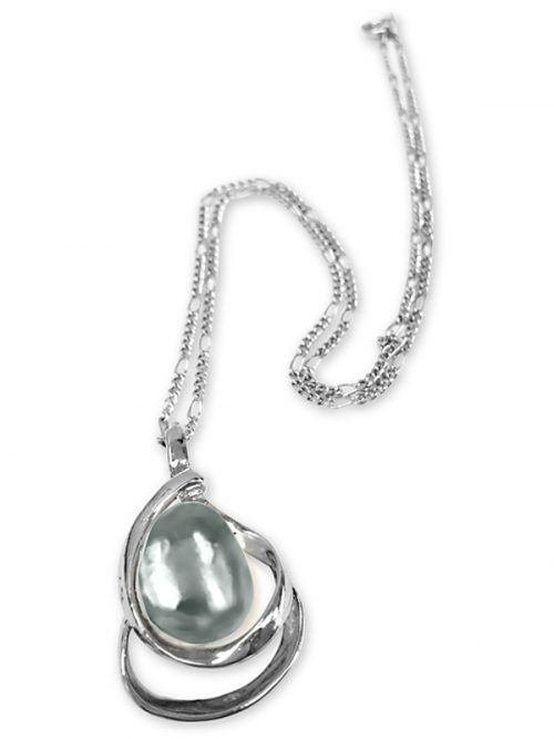 PACIFIC PEARLS KIRIBATI COLLECTION Silver-Gray 15-18mm Baroque Pearl Pendant