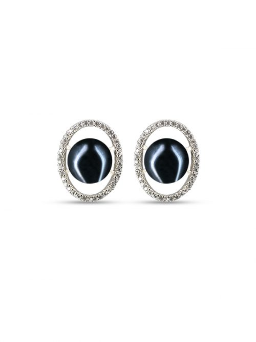 PACIFIC PEARLS NOUVELLE-CALÉDONIE COLLECTION Black Aura Diamond Encrusted Pearl Earrings