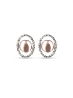 PACIFIC PEARLS NOUVELLE-CALÉDONIE COLLECTION Pink Aura Diamond Encrusted Pearl Earrings