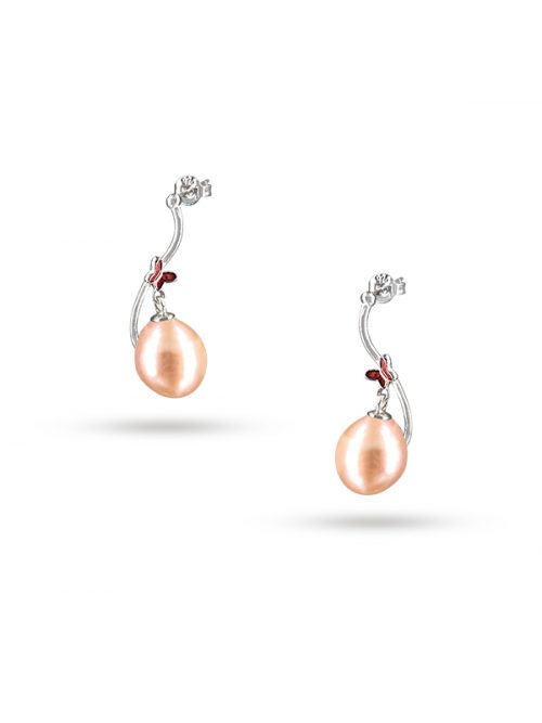PACIFIC PEARLS NOUVELLE-CALÉDONIE COLLECTION Queen Butterfly Peach Pearl Earrings