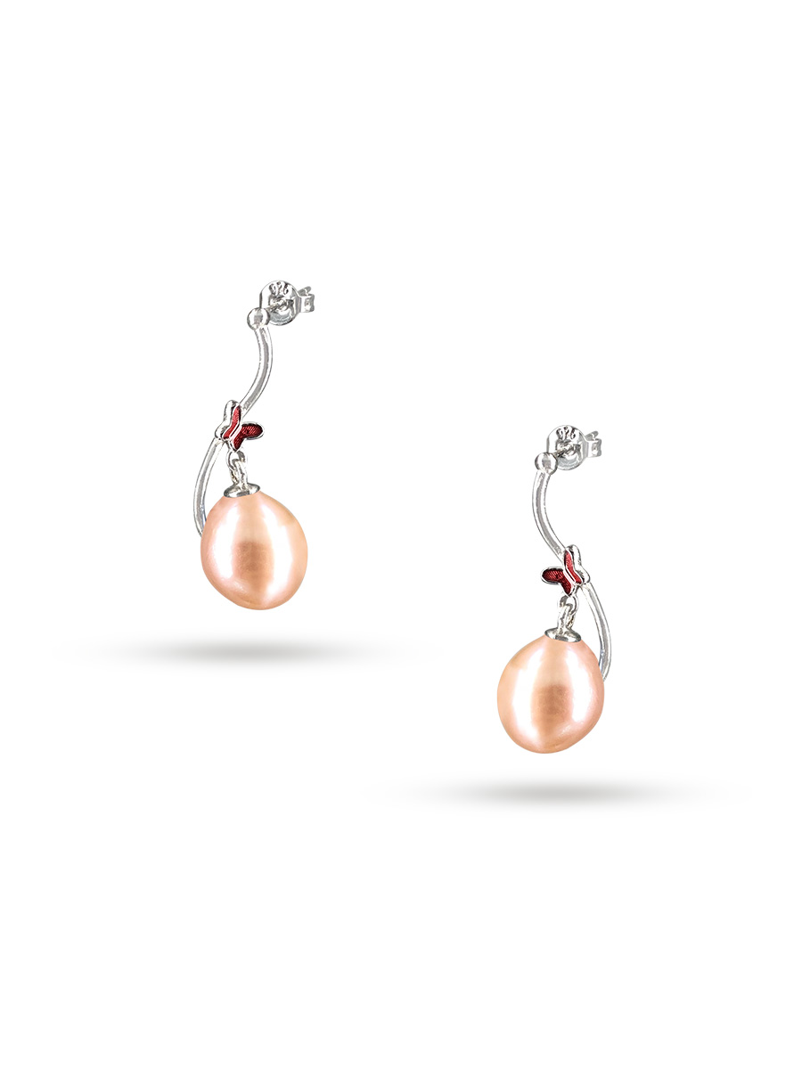 Nouvelle CalÉdonie Collection Queen Erfly Peach Pearl Earrings