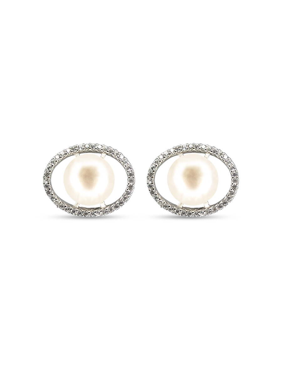 PACIFIC PEARLS NOUVELLE-CALÉDONIE COLLECTION White Aura Diamond Encrusted Pearl Earrings