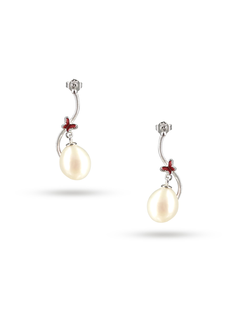 PACIFIC PEARLS NOUVELLE-CALÉDONIE COLLECTION Queen Butterfly White Pearl Earrings