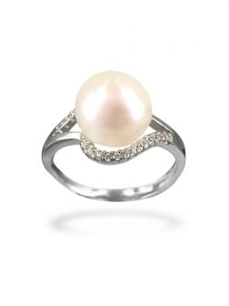 PACIFIC PEARLS BORA BORA COLLECTION Cumbia Diamond Encrusted White Pearl Ring