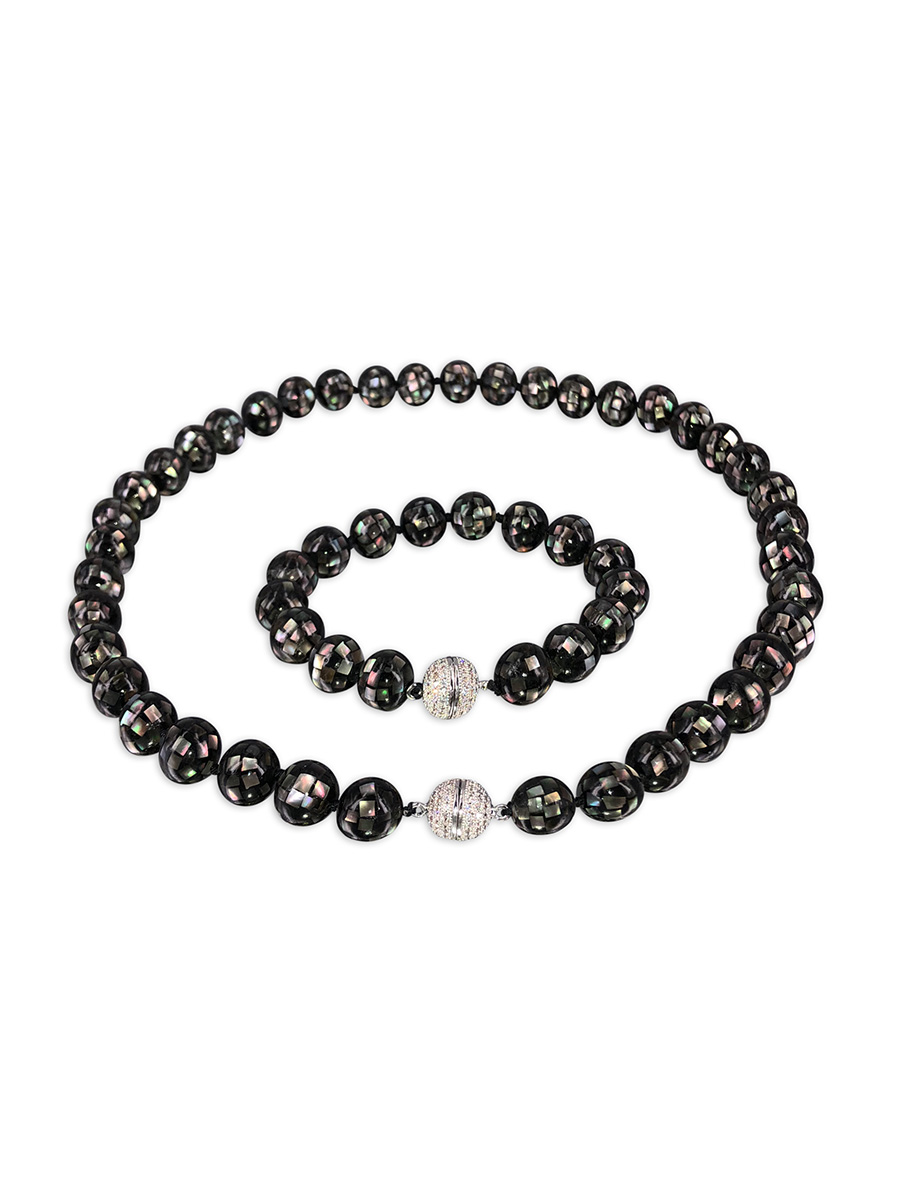 PACIFIC PEARLS SOUTH SEA COLLECTION 10mm Black South Sea Mother-of-Pearl Necklace & Bracelet