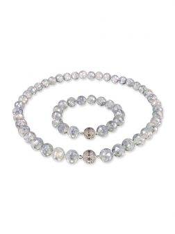 PACIFIC PEARLS SOUTH SEA COLLECTION 10mm Blue-Gray South Sea Mother-of-Pearl Necklace & Bracelet