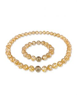 PACIFIC PEARLS SOUTH SEA COLLECTION 10mm Golden South Sea Mother-of-Pearl Necklace & Bracelet