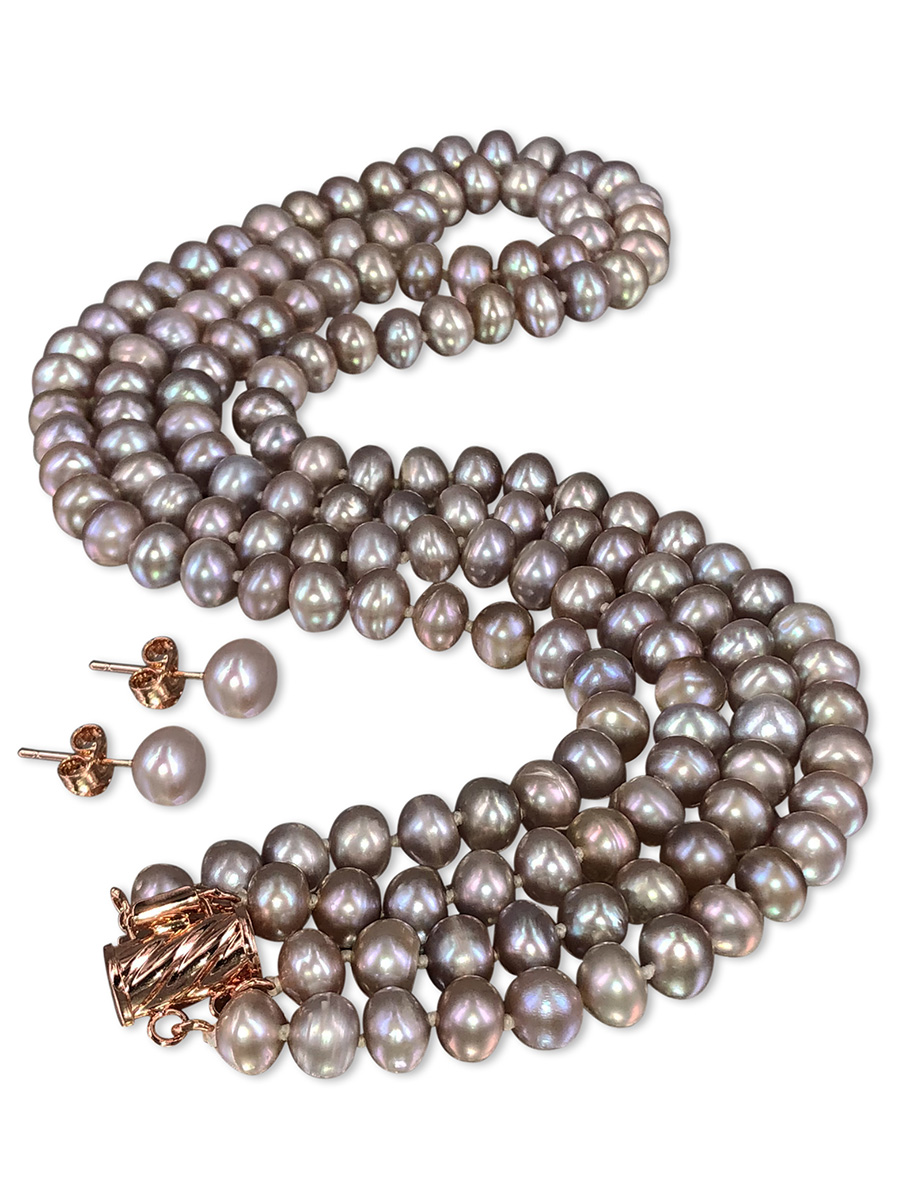 PACIFIC PEARLS TARA ISLAND COLLECTION Lavender Blush Double Strand Pearl Necklace & Earrings