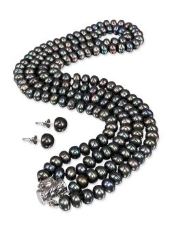 PACIFIC PEARLS TARA ISLAND COLLECTION Malbec Black Wine Double Strand Pearl Necklace & Earrings