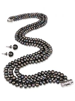 PACIFIC PEARLS TARA ISLAND COLLECTION Malbec Black Wine Triple Strand Pearl Necklace & Earrings