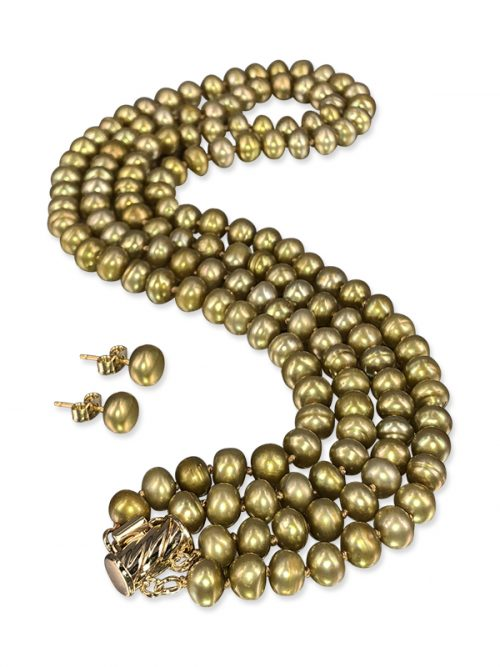 PACIFIC PEARLS TARA ISLAND COLLECTION Tuscan Gold Double Strand Pearl Necklace & Earrings