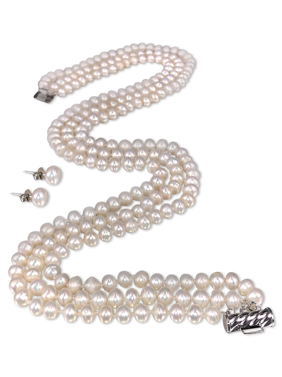 PACIFIC PEARLS TARA ISLAND COLLECTION White Gardenia Triple Strand Pearl Necklace & Earrings