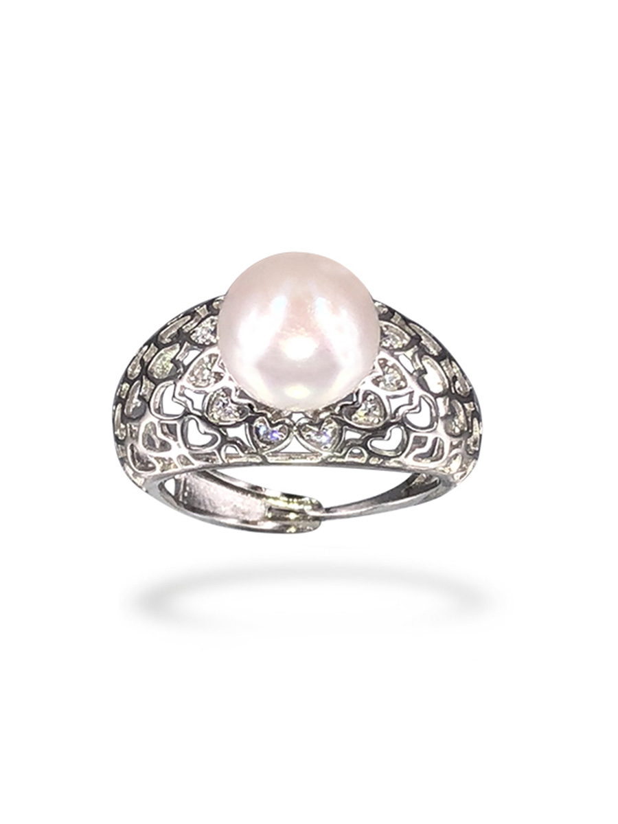 PACIFIC PEARLS BORA BORA COLLECTION Amorette Diamond Encrusted White Pearl Ring